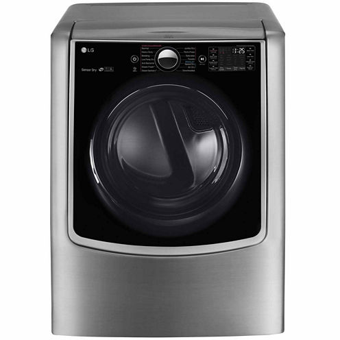 LG 9.0 cu.ft. MEGA Capacity TurboSteam® Electric Dryer with On-Door Control Panel