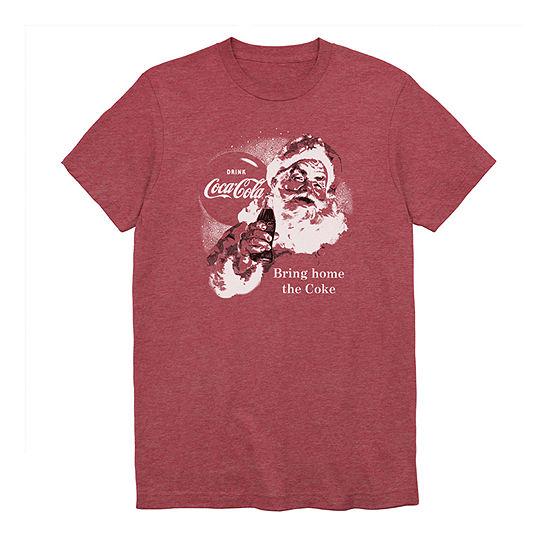 Big and Tall Coca Cola Santa Cheer Mens Crew Neck Short Sleeve Graphic T-Shirt