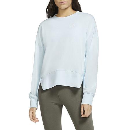 Nike Womens Plus Crew Neck Long Sleeve Sweatshirt, 2x , Blue