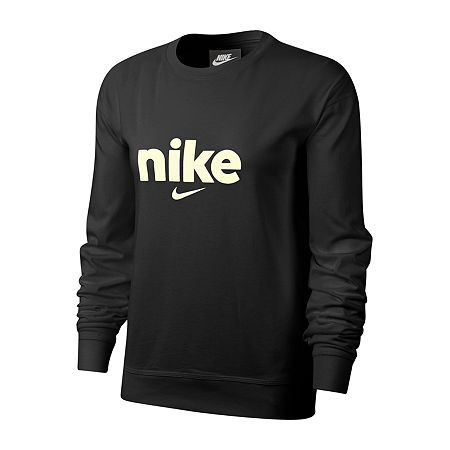 Nike Womens Plus Crew Neck Long Sleeve Sweatshirt, 1x , Black
