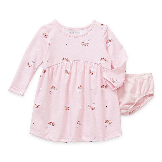 Okie Dokie Baby Girls Long Sleeve Fitted Sleeve Babydoll Dress