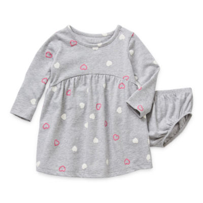 Okie Dokie Baby Girls Long Sleeve Fitted Sleeve Babydoll Dress