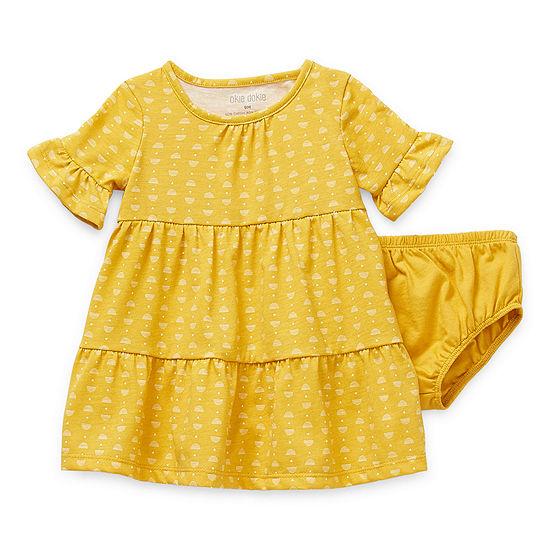Okie Dokie Baby Girls 3/4 Sleeve Bell Sleeve Babydoll Dress