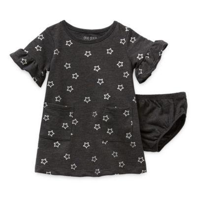 Okie Dokie Baby Girls Short Sleeve Bell Sleeve Babydoll Dress