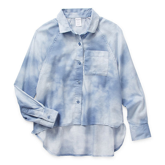 Arizona Little & Big Girls Long Sleeve Button-Down Shirt