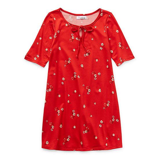 Emerald Gumdrops Big Girls Short Sleeve Floral T-Shirt Dress