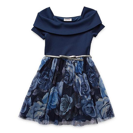 Knit Works Little & Big Girls Belted Short Sleeve Off Shoulder Skater Dress