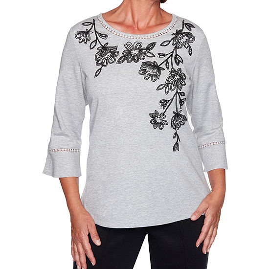 Alfred Dunner Knightsbridge Station Womens Round Neck 3/4 Sleeve Knit Embroidered Blouse