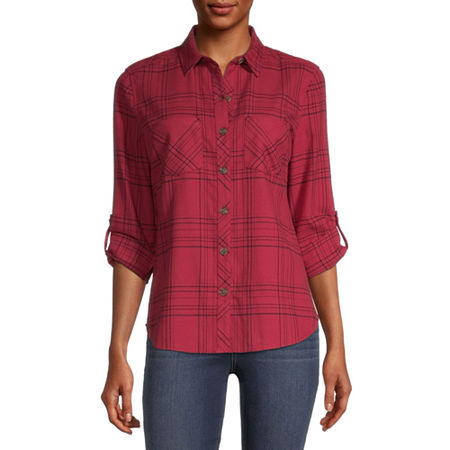 a.n.a Womens Long Sleeve Flannel Blouse, X-small , Red