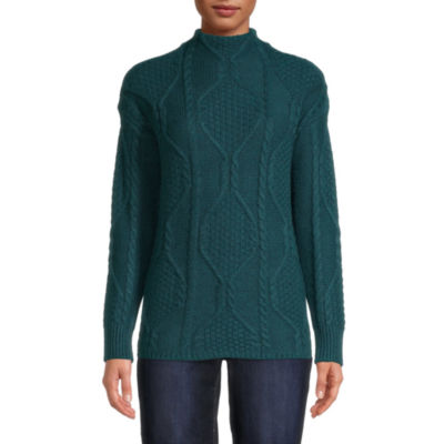 St. John's Bay Womens Mock Neck Long Sleeve Pullover Sweater