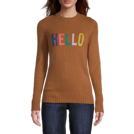St. John's Bay Womens Crew Neck Long Sleeve Pullover Sweater, Petite Medium , Beige