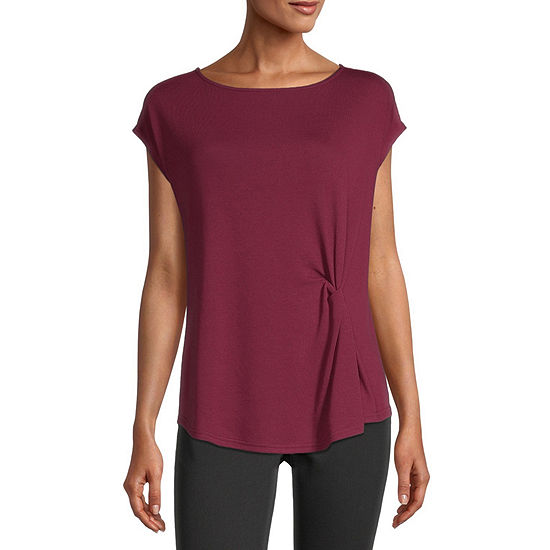 Liz Claiborne Womens Boat Neck Short Sleeve T-Shirt