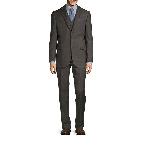 Stafford Super Light Brown Windowpane Classic Fit Suit Separates