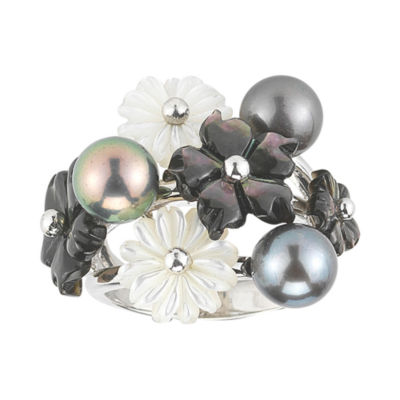 Black Cultured Freshwater Pearl & Tahitian Pearl Ring