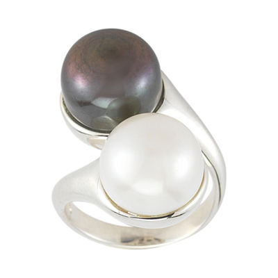Black & White Cultured Freshwater Pearl Button Bypass Ring