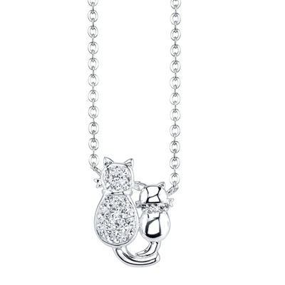 Crystal Sophistication™ Silver-Plated Crystal-Accent Cat Pendant Necklace
