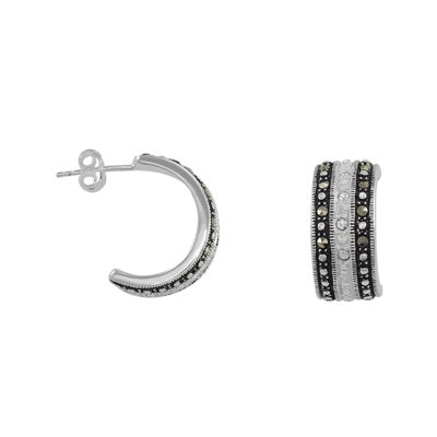 Le Vieux™ Silver-Plated Marcasite & CZ C-Hoop Earrings