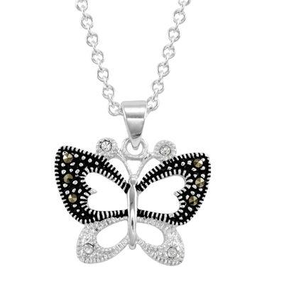 Le Vieux™ Silver-Plated Marcasite & CZ Butterfly Pendant Necklace