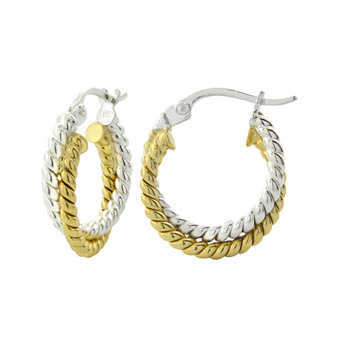 14K Two-Tone Gold Over Brass Twisted Double Hoop Earrings