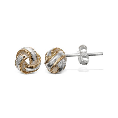 Two-Tone Rope Trim Love Knot Earrings