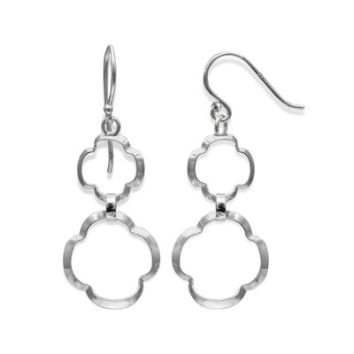 Sterling Silver Double Clover Drop Earrings