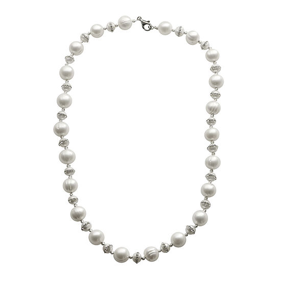 Cultured Freshwater Pearl Crystal-Accent Sterling Silver Necklace