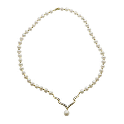 Cultured Freshwater Pearl Diamond-Accent Necklace
