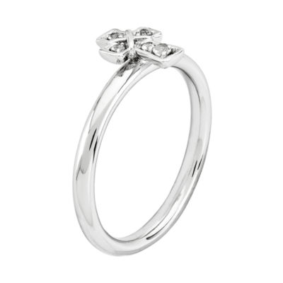 Personally Stackable Genuine White Topaz Sterling Silver Cross Stackable Ring