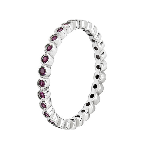 Personally Stackable Genuine Rhodolite Garnet Sterling Silver Ring