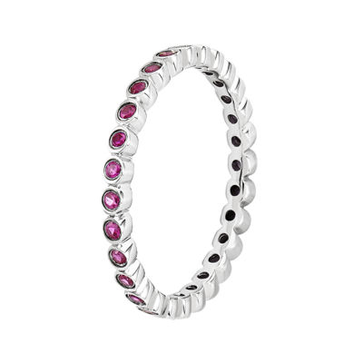 Personally Stackable Lab-Created Ruby Sterling Silver Ring