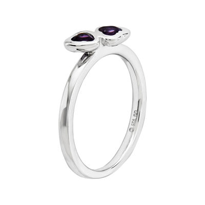 Personally Stackable Genuine Amethyst Sterling Silver Double-Heart Ring