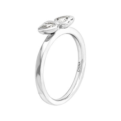 Personally Stackable Genuine White Topaz Sterling Silver Double-Heart Ring