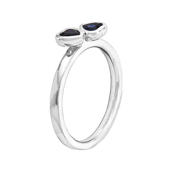 Personally Stackable Lab-Created Blue Sapphire Sterling Silver Double-Heart Ring
