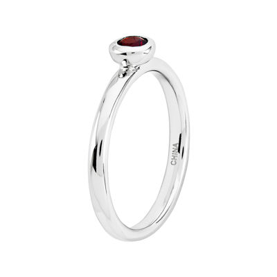 Personally Stackable 4mm Round Genuine Garnet Ring