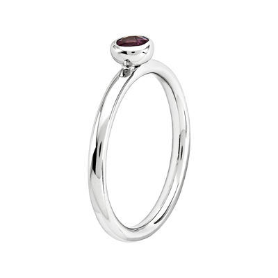 Personally Stackable 4mm Round Genuine Rhodolite Ring