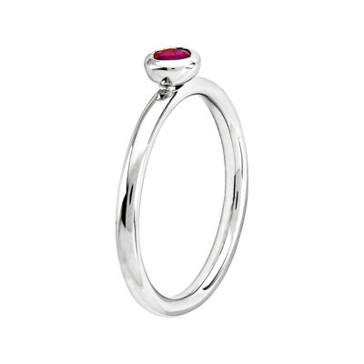 Personally Stackable 4mm Round Lab-Created Ruby Ring