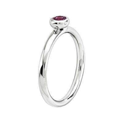 Personally Stackable 4mm Round Genuine Pink Tourmaline Ring
