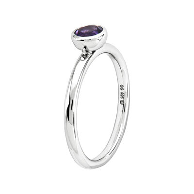 Personally Stackable 5mm Round Genuine Amethyst Ring