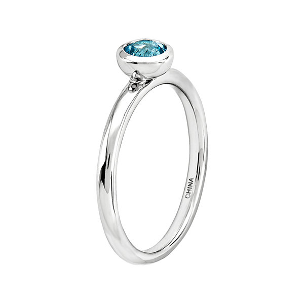 Personally Stackable 5mm Round Genuine Blue Topaz Ring