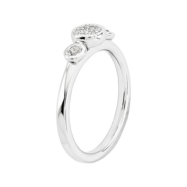 Personally Stackable Double White Topaz & Diamond-Accent Ring