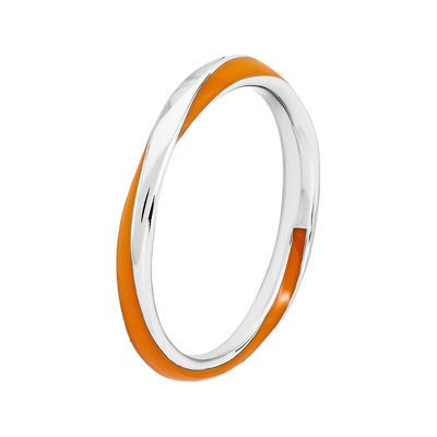Personally Stackable Sterling Silver Twisted Orange Enamel Ring