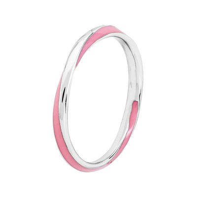 Personally Stackable Sterling Silver Twisted Pink Enamel Ring