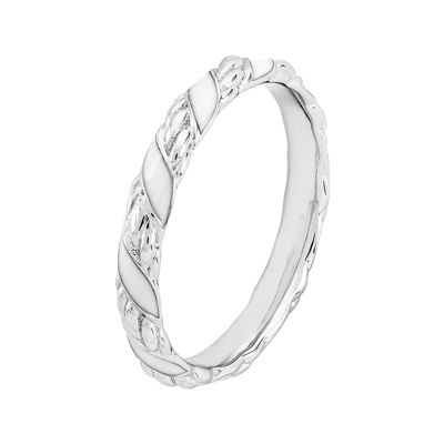 Personally Stackable Sterling Silver White Enamel Ribbon Ring