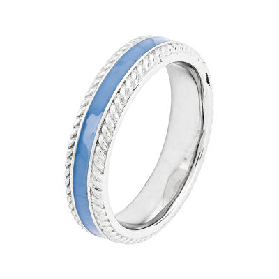 Personally Stackable Sterling Silver Blue Enamel Braided Edge Ring