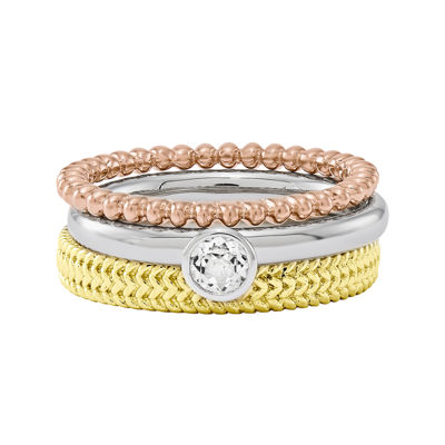 Personally Stackable 3-pc. Tri-Tone Ring Set