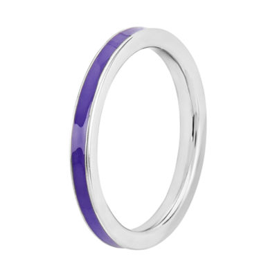 Personally Stackable Purple Enamel Sterling Silver Ring