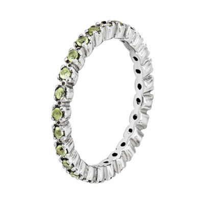 Personally Stackable Genuine Peridot Sterling Silver Eternity Ring