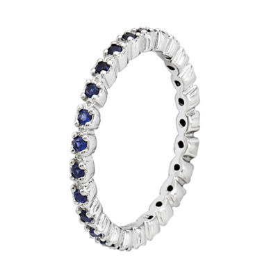 Personally Stackable Lab-Created Sapphire Sterling Silver Eternity Ring