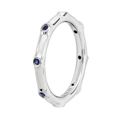 Personally Stackable Lab-Created Blue Sapphire Sterling Silver Station Ring