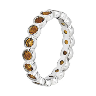 Personally Stackable Genuine Citrine Sterling Silver Eternity Ring